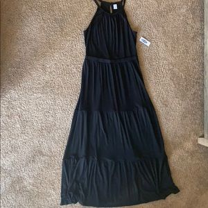 NWT Old Navy maxi tiered black dress